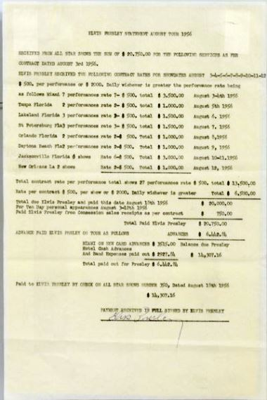 Signed August 1956 All Star Shows Tour Settlement Statement