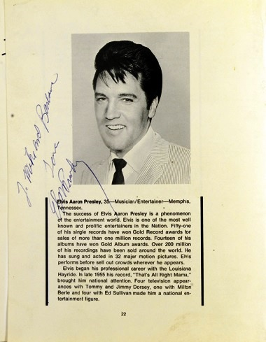 Elvis Signed Jaycee's Program