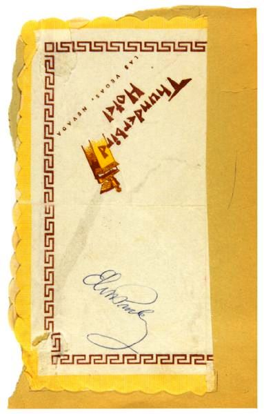 Elvis Signed Thunderbird Hotel Cocktail Napkin