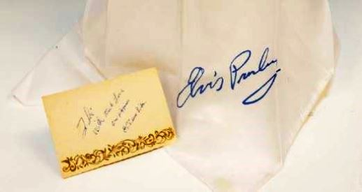 Souvenir Concert Scarf and Handwritten Thank You Note by Elvis