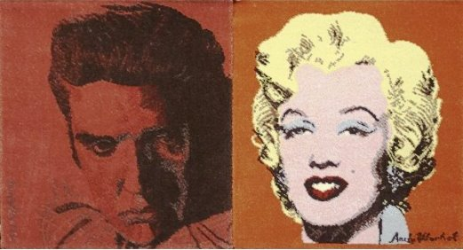 Andy Worhol hanging tapestries of Elvis and Marilyn Monroe