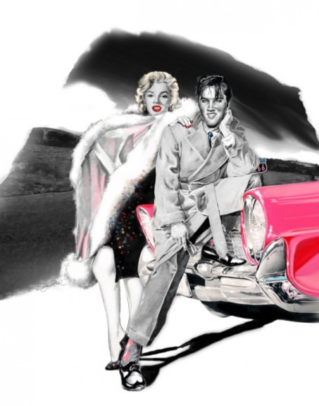 Elvis and Marilyn Back End of a Car