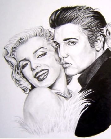 Elvis and Marilyn Black and White Head Drawing