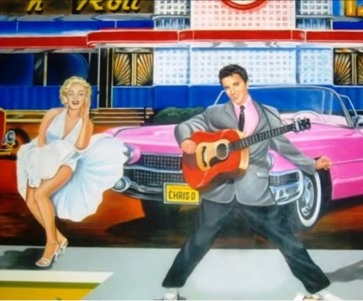 Elvis and Marilyn Pink Caddy