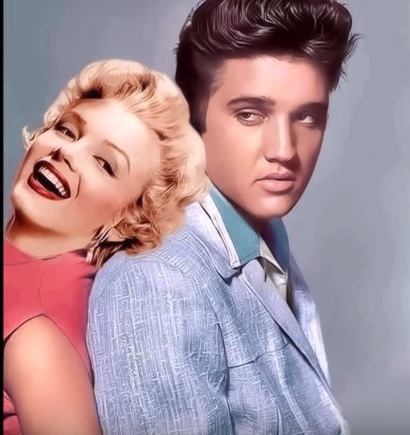 Elvis and Marilyn Shoulder Lean
