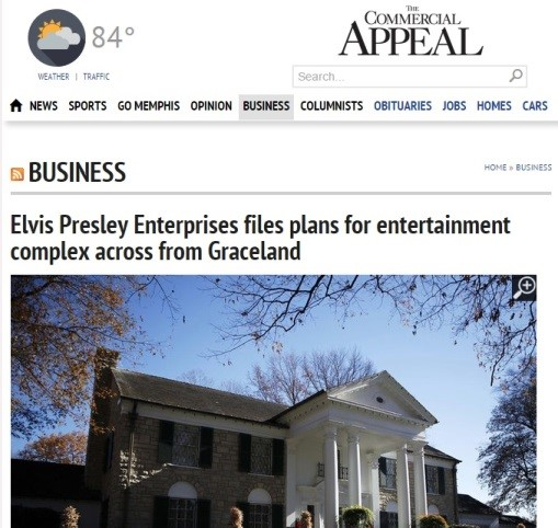 Memphis Commercial Appeal Article on Graceland Expansion