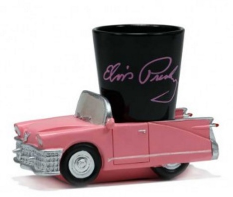 Elvis Shot Glass in a Pink Caddy Base