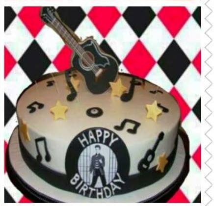 Black and White Elvis Birthday Cake