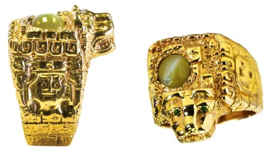 Elvis' Aztec Ring with Jaguar Head