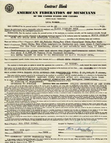 Elvis Presley and Colonel Parker Signed Concert Contract for November 22-25, 1956 Ohio Shows