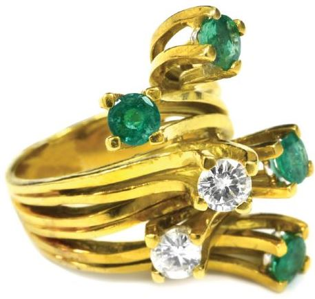 Emerald and Diamond Ring Gifted by Elvis Presley to Linda Thompson