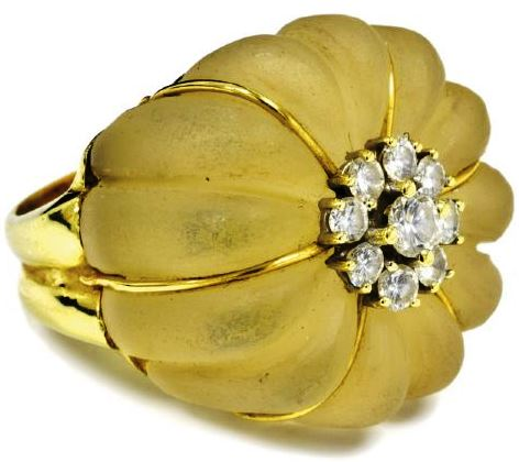 Gold, Diamond and Rock Crystal Quartz Ring Gifted by Elvis Presley to Linda Thompson