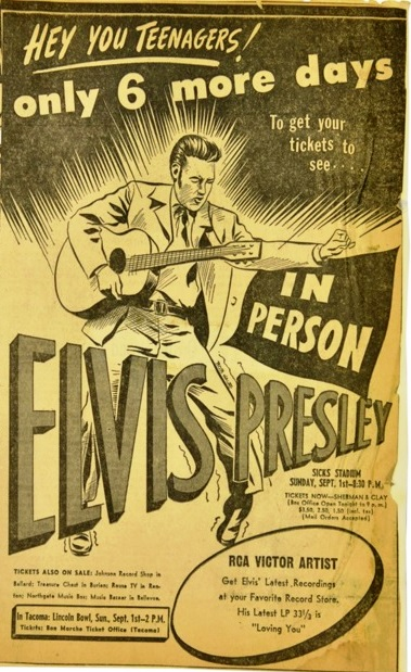 Lot 19 Concert Ad for Elvis at Sisk's Seattle Stadium