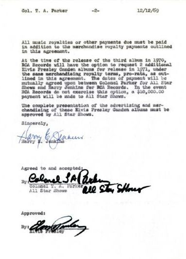 Lot 76 Agraaement Letter Signed by Elvis - Pg 2