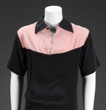 Black rayon shirt with pink yoke worn by Elvis Presley on The Milton Berle Show on June 5, 1956