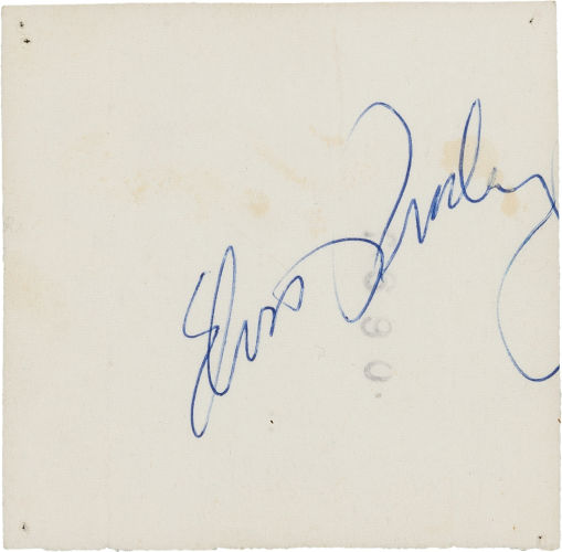 Elvis' Autograph on Back of Photo (1955 -- Back