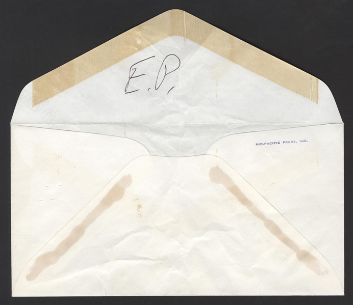 Elvis Handwritten & Signed Note to Charlie Hodge - Envelope Back