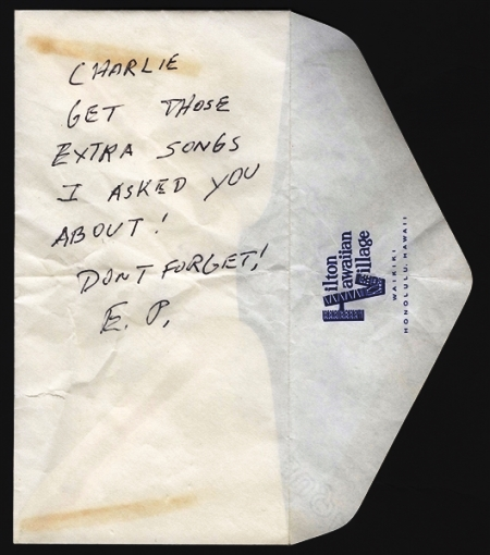 Elvis Handwritten & Signed Note to Charlie Hodge