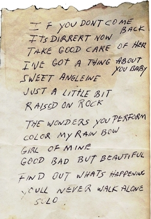 Elvis Handwritten Song List for an RCA Recording Session