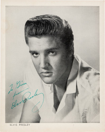 Elvis Signed Black and White Image, Circa 1956