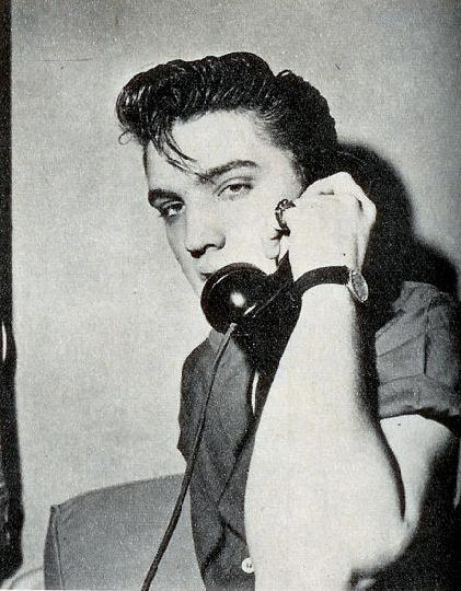 Elvis on Phone in Short Sleeves