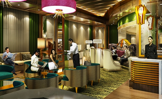 Artist's Rendering of the Lobby Bar at the Guest House at Graceland.