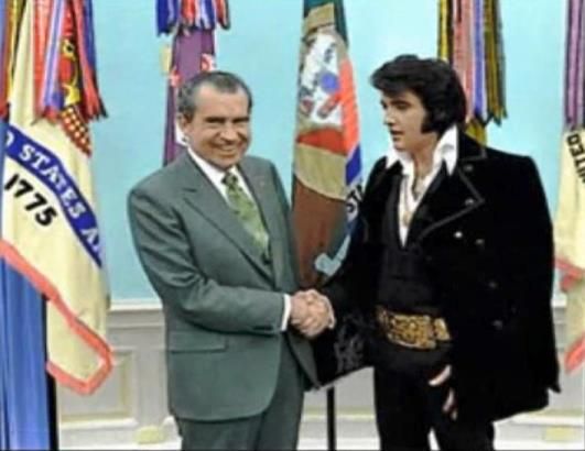 Colorized Photo of Elvis Meeting Nixon