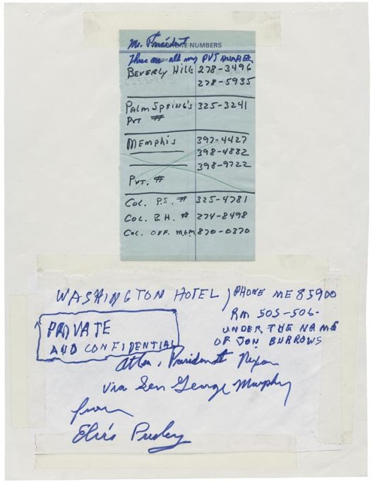 Elvis' Letter to Nixon - Phone Numbers for Return Call