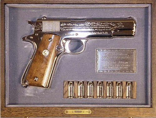 Elvis gift to Richard Nixon A 45 Caliber Colt pistol
