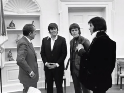Sonny West and Jerry Schilling with Nixon and Elvis