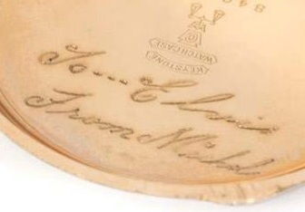 Elvis Presley's Waltham Pocket Watch - Inscription
