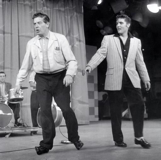 Elvis and Milton Berle walking on his Ankles