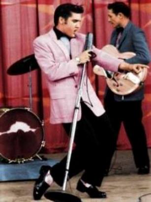 Elvis in Colorized Pink Coat on Milton Berle Show