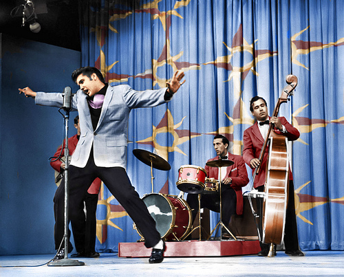 "Blue Coat Colorized Version of Elvis Doing ""Hound Dog"" on Milton Berle Show"