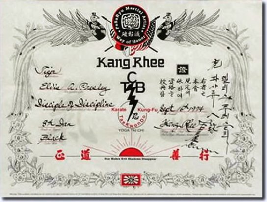 8th Degree San Black Belt certificate