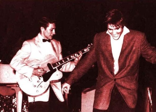 Colorized Scotty & Elvis on Stage