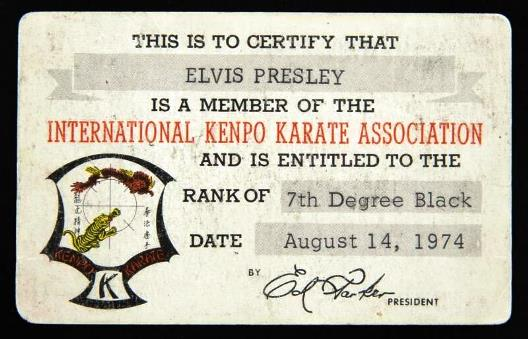 Elvis Presley's 7th Degree Black Belt Card