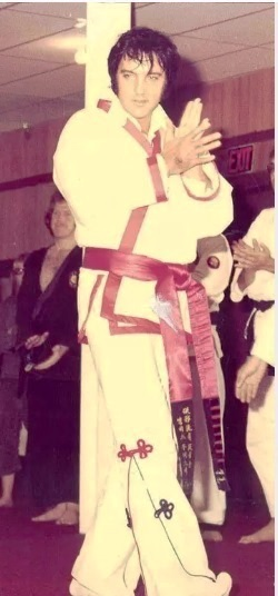 Side View of Elvis in Karate Gi