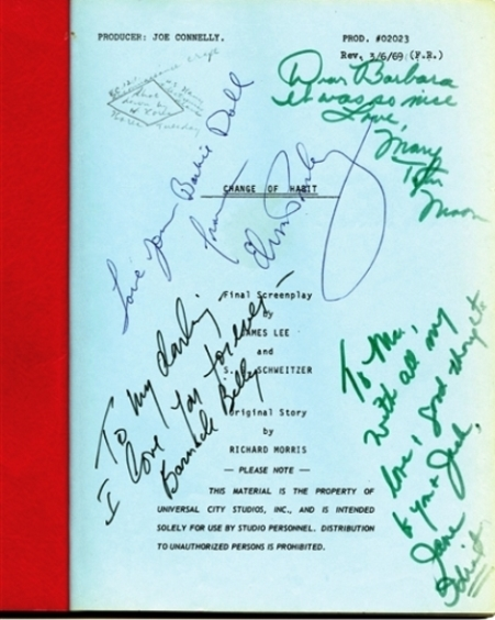 1969 Change of Habit Production Script Signed by Elvis Presley