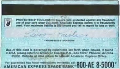 Elvis' American Express Card - Back
