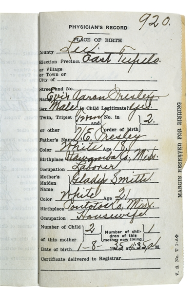 Elvis Presley Birth Record Document