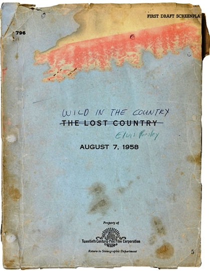 Elvis - Wild in the Country First Draft Script