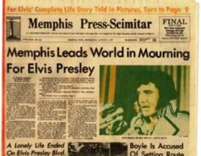 Newspaper Headline of Elvis' Death
