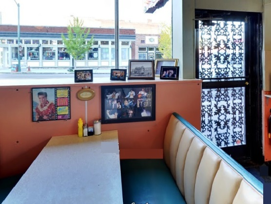 Elvis' favorite booth next to back door at Arcade Restaurant