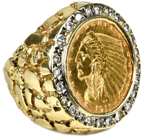 Elvis Presley's 1911 Indian Head Gold $2-1/2 and Diamond Ring