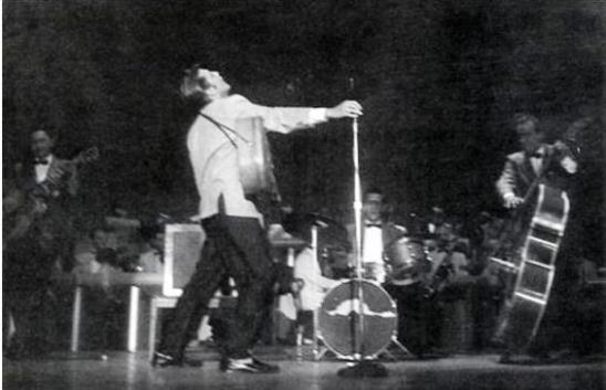 Elvis and Band Performing at New Frontier Hotel