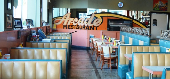 The Arrow Marks Elvis' Favorite Booth at Arcade Restaurant