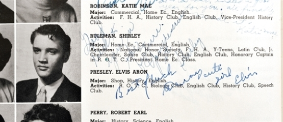 Elvis Autograph and Inscription on High School Yearbook
