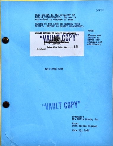 Elvis Presley Jailhouse Rock Screenplay