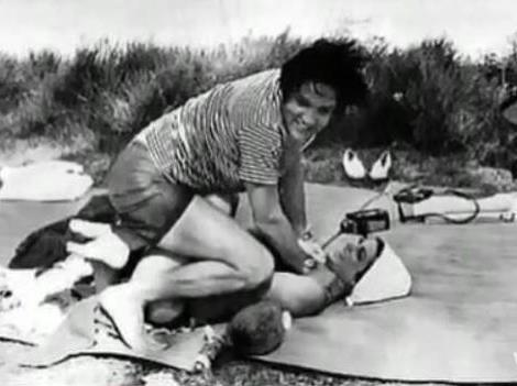 Elvis on the Beach with Priscilla